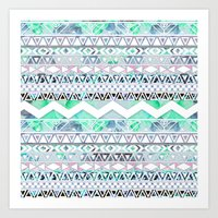 Teal Girly Floral White … Art Print