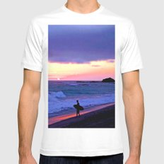 Sunset Skimboarder Mens Fitted Tee SMALL White
