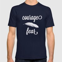 Courage > Fear Mens Fitted Tee Navy SMALL