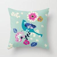 Birds And Blooms 3 Throw Pillow