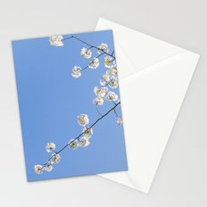 Sky Gazing, Nature Photography, Blossom Print, Blue Wall Art, Minimalist Spring Blossoms Stationery Cards
