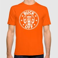 BUCK OFF Mens Fitted Tee Orange SMALL