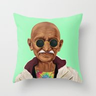 Throw Pillow featuring Hipstory -  Mahatma Gand… by Amit Shimoni