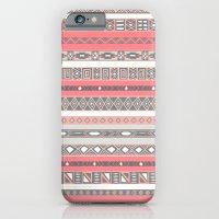 Aztec Print Peach Rose Salmon Grey iPhone 6 Slim Case