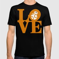 Robot LOVE - Orange Mens Fitted Tee Black SMALL