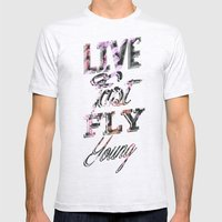 Live Fast Fly Young Mens Fitted Tee Ash Grey SMALL