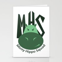 Minty Hippo Squad Stationery Cards
