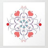 Kaleidescope Spring - White Art Print