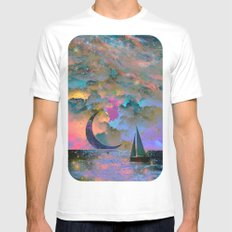 Moonset White Mens Fitted Tee SMALL