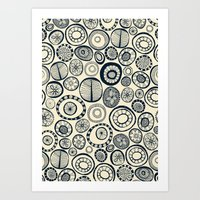 Honolulu hoops indigo cream Art Print