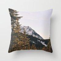 Snow Mountain In The Tre… Throw Pillow