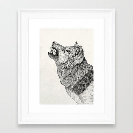 Wolf // Graphite Framed Art Print