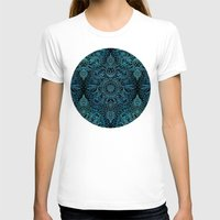 Black & Aqua Protea Doodle Pattern Womens Fitted Tee White SMALL
