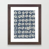 Indigo Spiderweb Shibori Framed Art Print