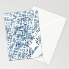 Washington DC Blueprint watercolor map Stationery Cards