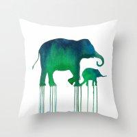 Watercolor Asian Elephan… Throw Pillow