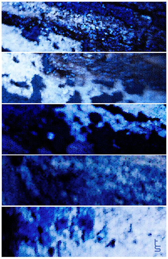 Blue Magnification (Five Panels Series) Canvas Print