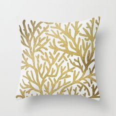 Gold Coral Throw Pillow