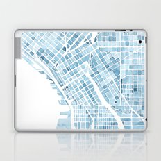 Map Seattle Washington Blueprint watercolor map Laptop & iPad Skin
