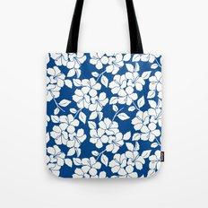 Hibiscus Floral: Marine Blue Tote Bag