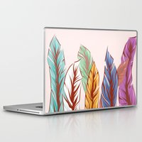 feathers Laptop & iPad Skins featuring Feathers by melcsee