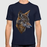 Wolf Head 2 Mens Fitted Tee Navy SMALL