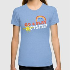 Go & Play Outside! Womens Fitted Tee Tri-Blue SMALL