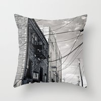 Grit city alley Throw Pillow