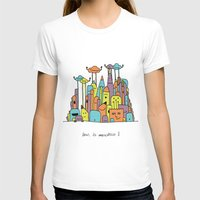 Monster Tower II Womens Fitted Tee White SMALL