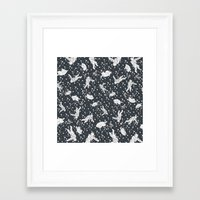 Astronaut, spaceship within a cluster of stars Framed Art Print