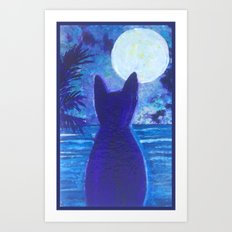 Cat silhouette Art Print