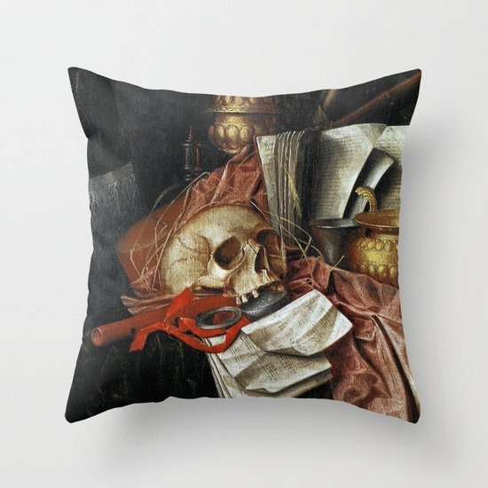 Vintage Vanitas - Still Life with skull 2 Throw Pillow