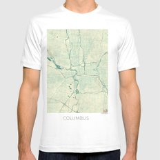 Columbus Map Blue Vintage Mens Fitted Tee SMALL White