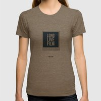 Long Live Film  Womens Fitted Tee Tri-Coffee SMALL