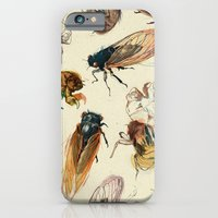 summer iPhone & iPod Cases featuring summer cicadas by Teagan White
