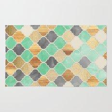 Charcoal, Mint, Wood & G… Rug