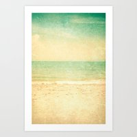 Vintage Textured Beach  Art Print