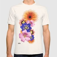 Flower Power. Mens Fitted Tee Natural SMALL