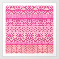 Tribal Pattern - Pink Art Print