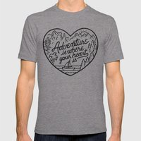 Adventure is where your heart is Mens Fitted Tee Tri-Grey SMALL