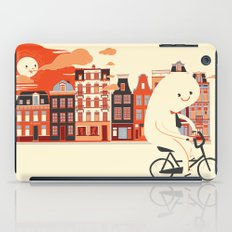 Happy Ghost Biking Through Amsterdam iPad Case