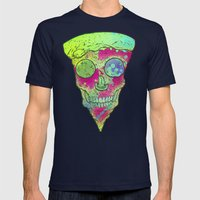 Skull Slice Neon Mens Fitted Tee Navy SMALL