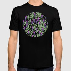 April blooms(Lavender_blue) Black Mens Fitted Tee SMALL