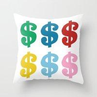Colourful Money Throw Pillow