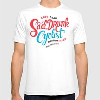 Sad, Drunk Cyclist Mens Fitted Tee White SMALL