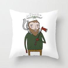 No Worries Woodsman Throw Pillow
