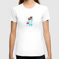 Poppies Womens Fitted Tee White SMALL