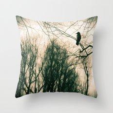 Crow Blur Throw Pillow