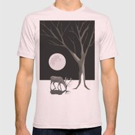 Deer, Moon And Tree Mens Fitted Tee Light Pink SMALL