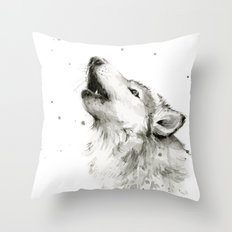 Wolf Howling Watercolor Wildlife Painting Throw Pillow